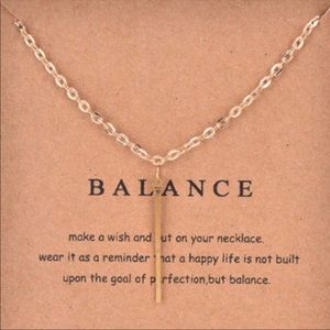 Jewelry - Bar Pendant Adjustable Necklace with Balance Card